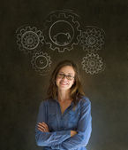 Thinking business woman with gear cogs and hamster — Stock Photo