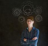 Empresário de pensamento com engrenagem engrenagens e hamster — Foto Stock