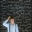 Thinking business mwith chalk questions what why when where who and how — Stock Photo #22933032