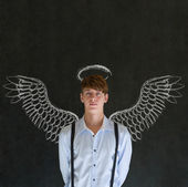 Business angel investor man with chalk wings and halo — Stock Photo