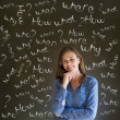 Thinking business woman with chalk questions — Stock Photo