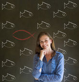 Business woman, student or teacher considering Jesus, God or Christianity — Stock Photo