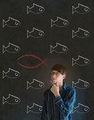 Uomo d'affari, studente o insegnante considerando gesù, dio o cristianesimo — Foto Stock