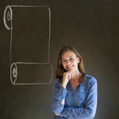 Woman, student or teacher with menu scroll checklist — Stock Photo