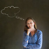 Woman with thought thinking chalk cloud — Stock Photo