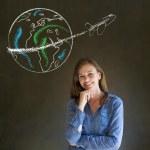 Woman with chalk globe and jet world travel — Stock Photo