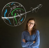 Woman with chalk globe and jet world travel — Stock Photo