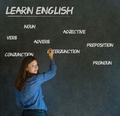 Learn English teacher with chalk background — Stock Photo