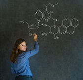 Learn science or chemistry teacher with chalk background — Stock Photo