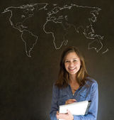 Businesswoman, teacher or student with world geography map on chalk background — Stock Photo