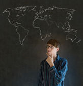 Businessman, teacher or student with world geography map on chalk background — Stock Photo