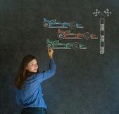 Business woman, student or teacher Formula 1 racing car fan on blackboard background — Stock Photo