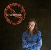 No smoking tobacco woman on blackboard background — Stock Photo