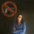 No guns pacifist business woman, student, teacher or politician on blackboard background — Stock Photo #24487671