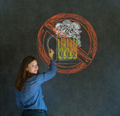 No beer alcohol woman on blackboard background — Stock Photo