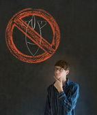 No war pacifist business man, student, teacher or politician on blackboard background — Stock Photo