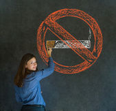 No smoking tobacco woman on blackboard background — Stock Photo