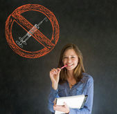 No drugs woman on blackboard background — Stock Photo