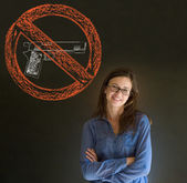 No guns pacifist business woman, student, teacher or politician on blackboard background — Stock Photo