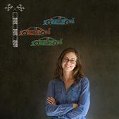 Business woman Nascar racing car fan on blackboard background — Stock Photo