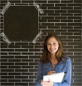 Business woman, student or teacher on brick wall notice board blackboard background — Stock Photo