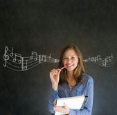 Learn music business woman or teacher with chalk background — Stock Photo