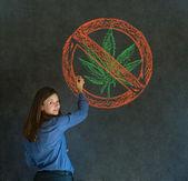No weed marijuana woman on blackboard background — Stock Photo