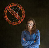 No war pacifist business woman, student, teacher or politician on blackboard background — Stock Photo