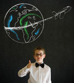 Thumbs up boy dressed as business man with chalk globe jet — Stock Photo