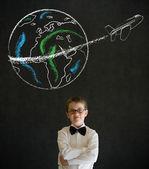 Thinking boy dressed as business man with chalk globe jet — Stock Photo