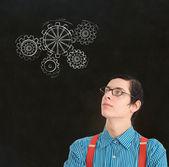 Nerd geek businessman student teacher chalk thinking gears cogs — Stock Photo