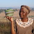 Traditional African Zulu woman selling wire baskets — Stock Photo #28522619