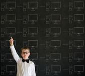 Hand up boy with chalk networks on blackboard background — Stock Photo