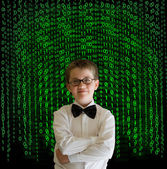 Boy, businessman student teacher with binary on background — Stock Photo