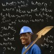 African American black man worker with chalk questions — Stock Photo