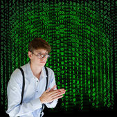 Businessman or teacher with binary on background — Stock Photo