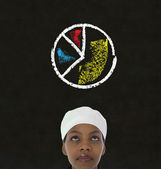 African american woman chef with chalk pie chart on blackboard background — Stock Photo