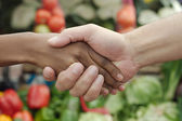 African or black American woman handshake traditional market deal in township — Stock Photo