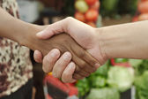 African or black American woman handshake traditional market deal in township — Photo