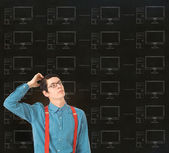 Nerd geek businessman with chalk computer network background — Stock Photo