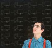 Nerd geek businessman with chalk computer network background — Stock Photo