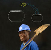 African black man worker with chalk jumping fish bowls background — Stock Photo
