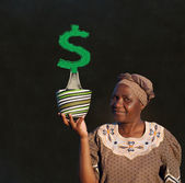 South African Zulu woman basket sales woman blackboard money tree — Stock Photo