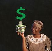 South african zulu žena koš prodejní žena tabule peníze strom — Stock fotografie