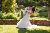 Nevěsta a ženich líbat v zahradní svatbu — Stock fotografie