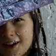 Little girl with umbrella in the rain — Stock Photo