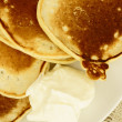 Pancakes with sour cream. - Stock Photo