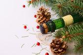 Noel çelenk ve bir şişe şampanya — Stok fotoğraf