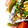 Stock Photo: Grilled fish with vegetables