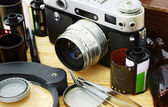 Film camera and accessories — Stock Photo